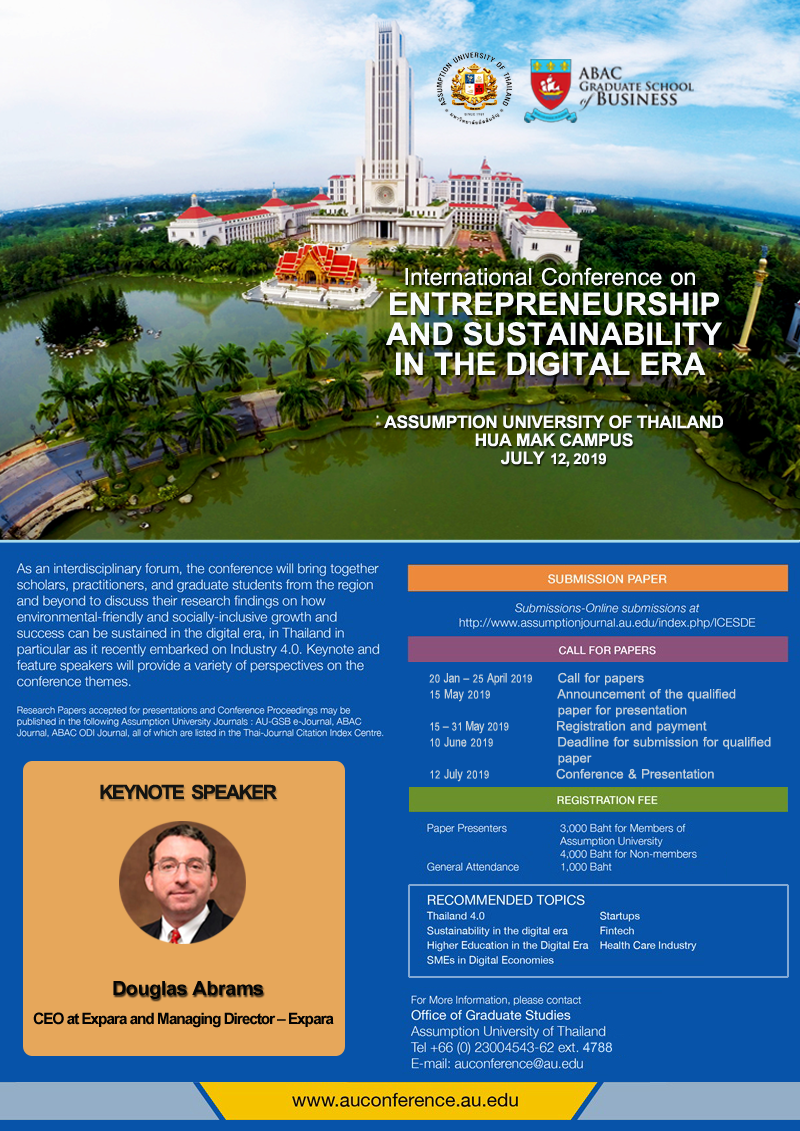 INTERNATIONAL CONFERENCE ON ENTREPRENEURSHIP AND SUSTAINABILITY IN THE DIGITAL ERA